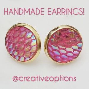 Jewelry - ✴3 for $15 Pink Iridescent Mermaid Scale Earrings